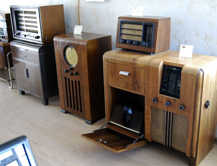 Antique tube radios found today are mainly wooden consoles