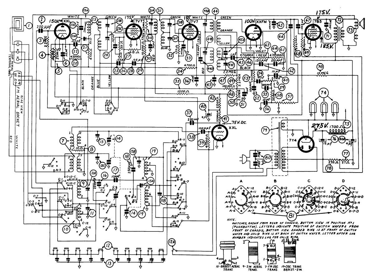 philco350 schematic philco 42 350 schematic diagram, chassis, ets radio diagram at bakdesigns.co